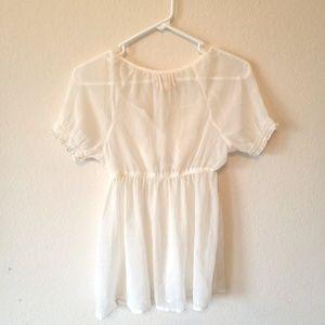 Mudd Tops - Sheer white smocked blouse